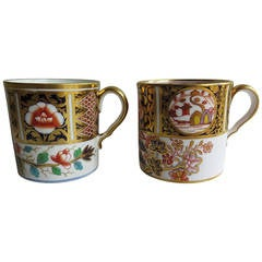 George 111 Similar Pair of Spode Porcelain Coffee Cans Richly Gilded, Circa 1810