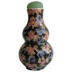 Chinese Snuff Bottle, Porcelain, Hand-Painted, Jade Top, Early 20th Century