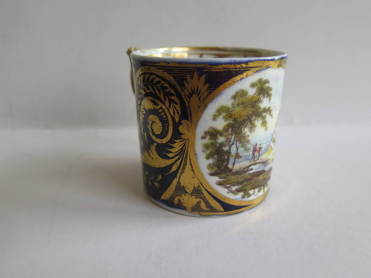 English George 111rd Derby Coffee Can Hand-Painted Named View Near Edmonton, Ca 1810 For Sale