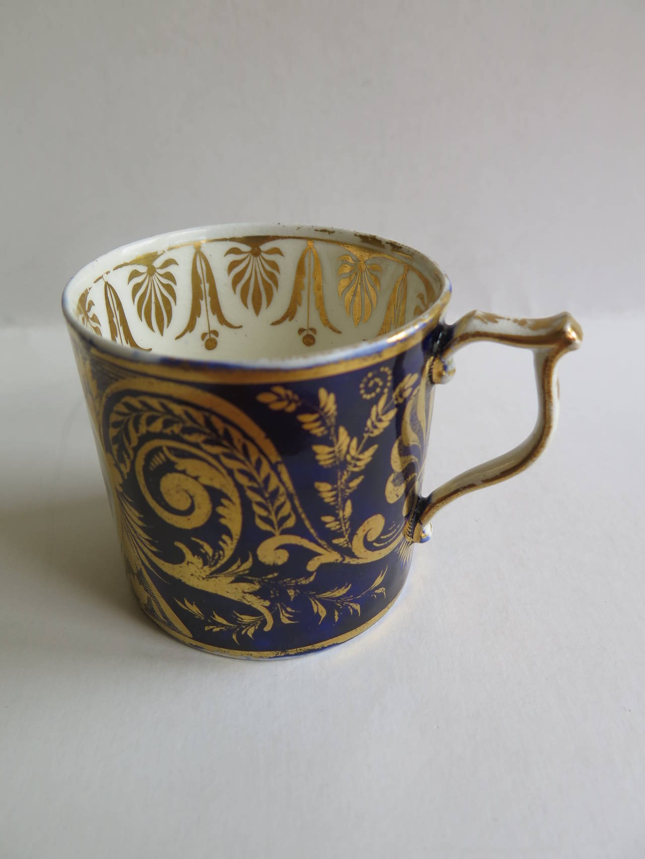 Porcelain George 111rd Derby Coffee Can Hand-Painted Named View Near Edmonton, Ca 1810 For Sale
