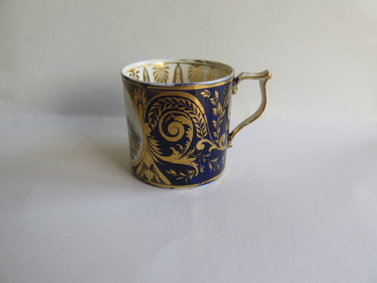 19th Century George 111rd Derby Coffee Can Hand-Painted Named View Near Edmonton, Ca 1810 For Sale