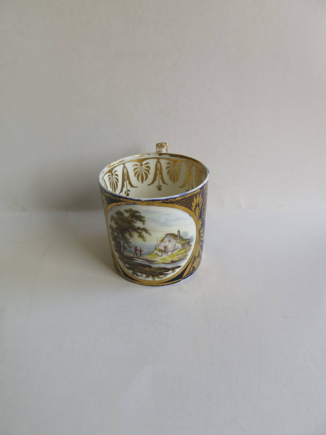 George 111rd Derby Coffee Can Hand-Painted Named View Near Edmonton, Ca 1810 For Sale 1