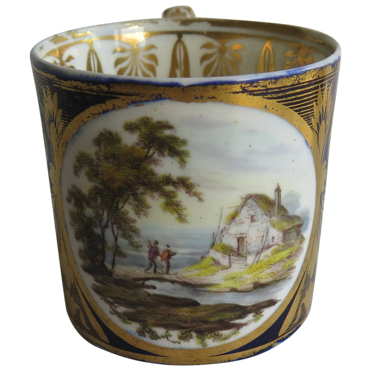 George 111rd Derby Coffee Can Hand-Painted Named View Near Edmonton, Ca 1810