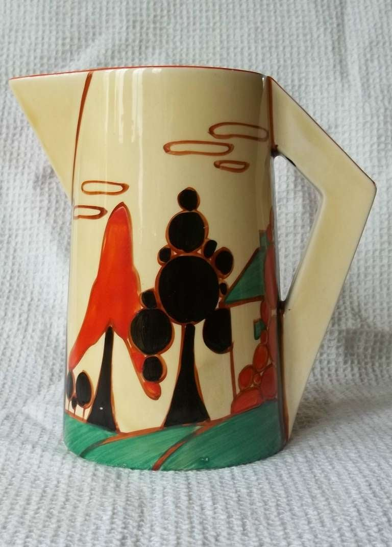 Clarice Cliffe Conical Jug- Fantasque Bizarre Trees & House Pattern ca.1931 2
