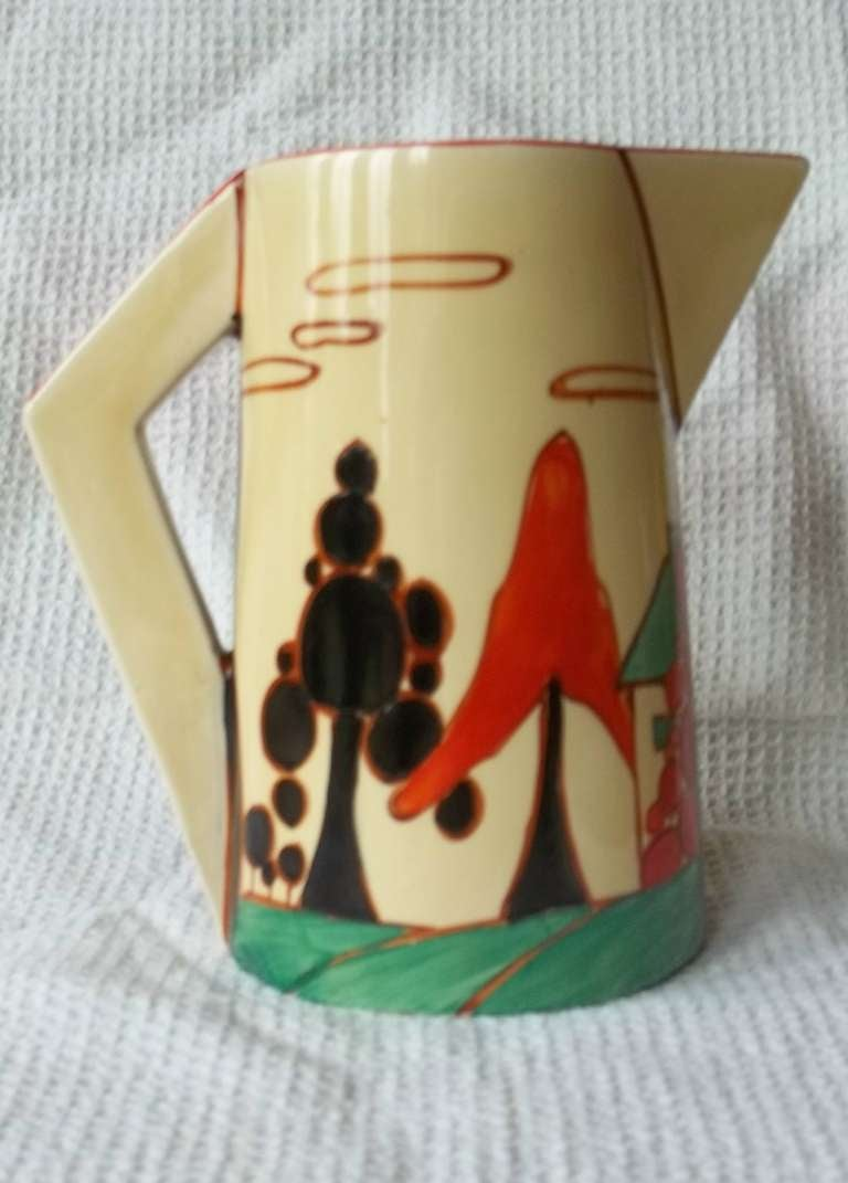 Clarice Cliffe Conical Jug- Fantasque Bizarre Trees & House Pattern ca.1931 4