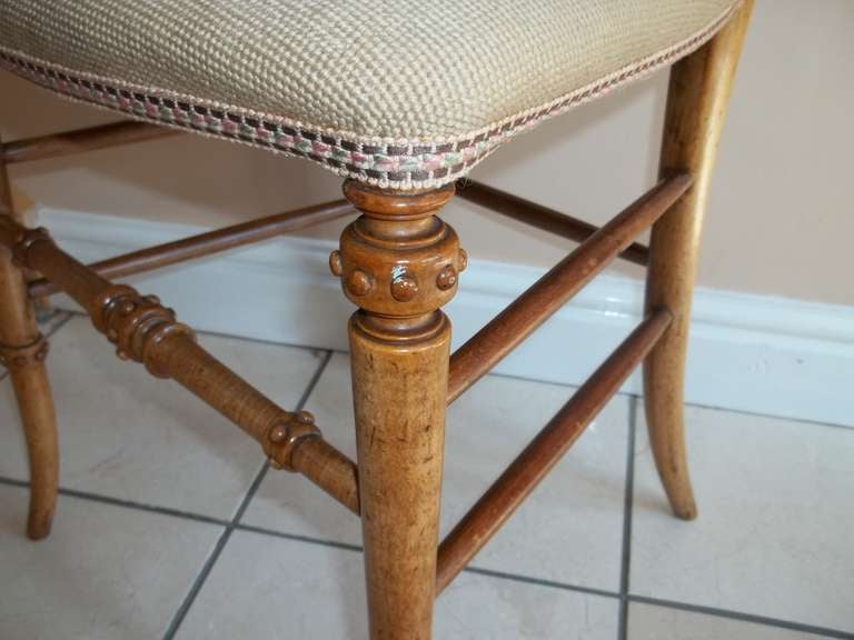 Mid 19th Century, Side Chair, Hand Carved balloon back, wool work seat, ca.1850 5