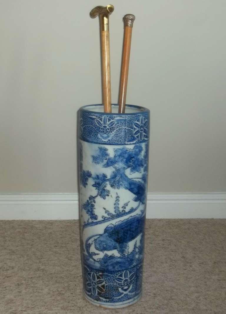 19thc Japanese Porcelain Blue And White Umbrella