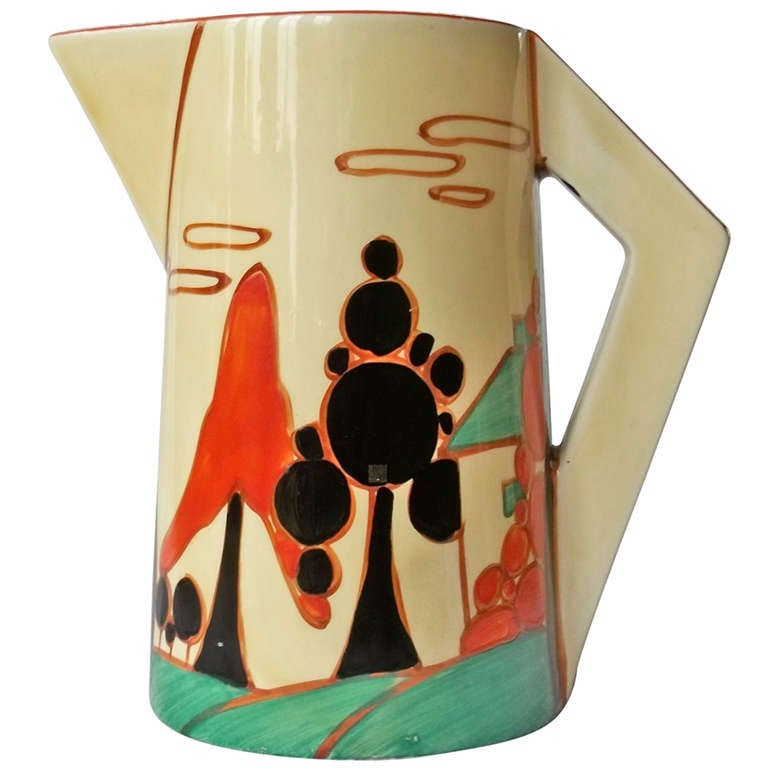 Clarice Cliffe Conical Jug- Fantasque Bizarre Trees & House Pattern ca.1931 1