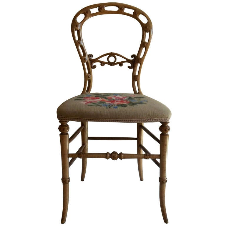 Mid-19th Century Side Chair Hand Carved Balloon Back Wool Work Seat, Circa 1850