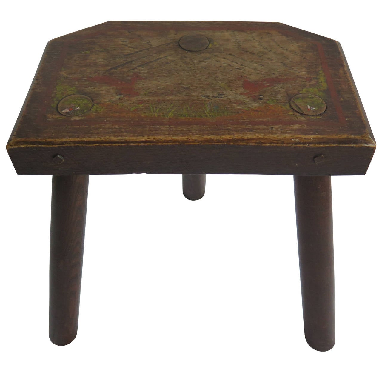 19th Century, Country Milking Stool, Hand-Painted Scene to Elm Top, Folk Art