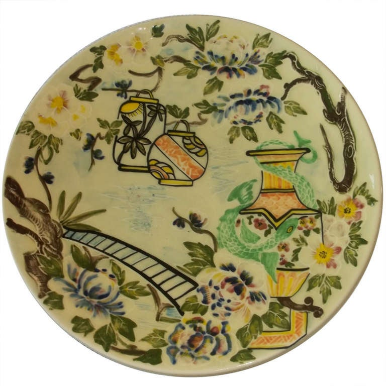 Art Deco Charger by Charlotte Rhead Hand-Painted Ceramic, England Circa 1930