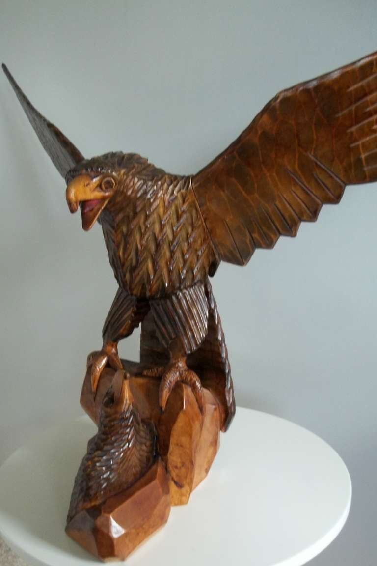 Large hand carved eagle russian fully stamped