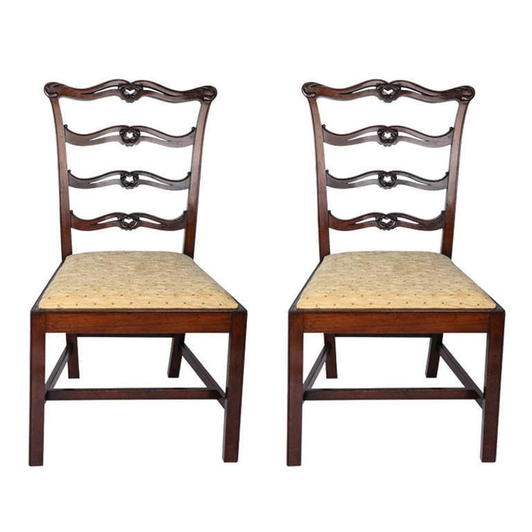 d53b408c5d9ef George III Pair of Mahogany Side Chairs Ribbon Back London Stamp ...