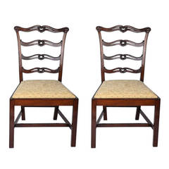 George III Pair of Mahogany Side Chairs Ribbon Back London Stamp, Circa 1770