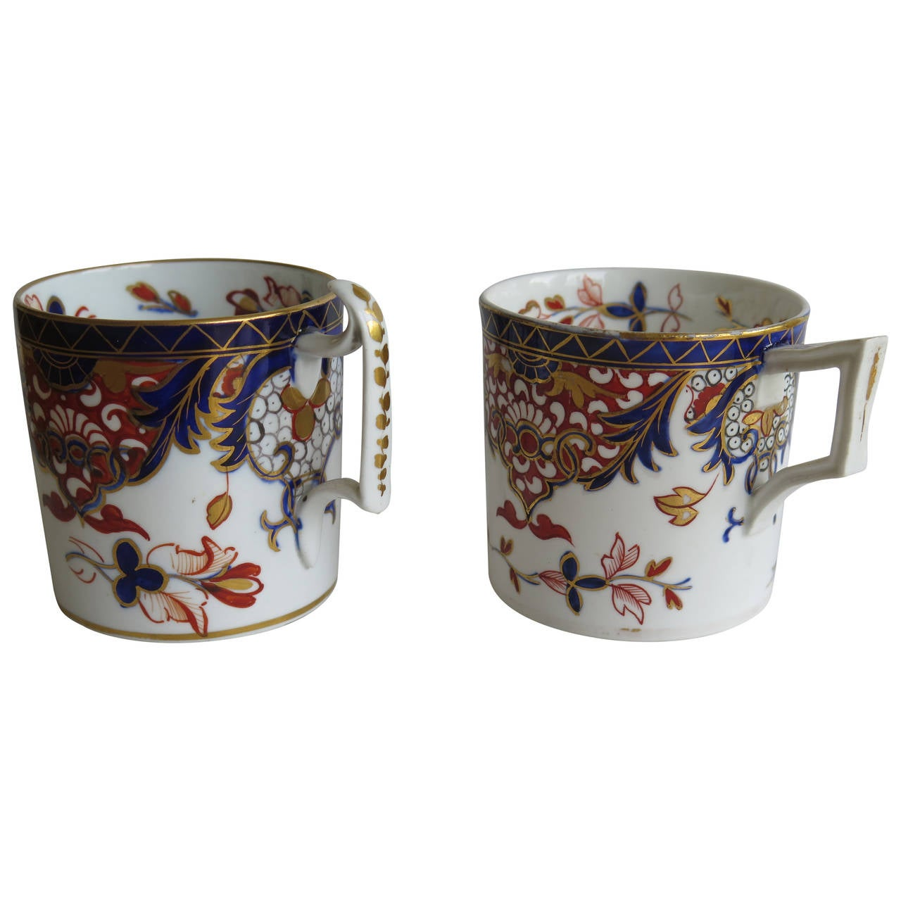 Similar Pair George 111 Derby Porcelain Coffee Cans Old Japan Pattern, Ca 1810
