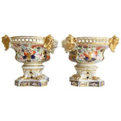Rare, Pair of Derby Porcelain Pot-Pourri Urns, Imari Witches Pattern, circa 1815