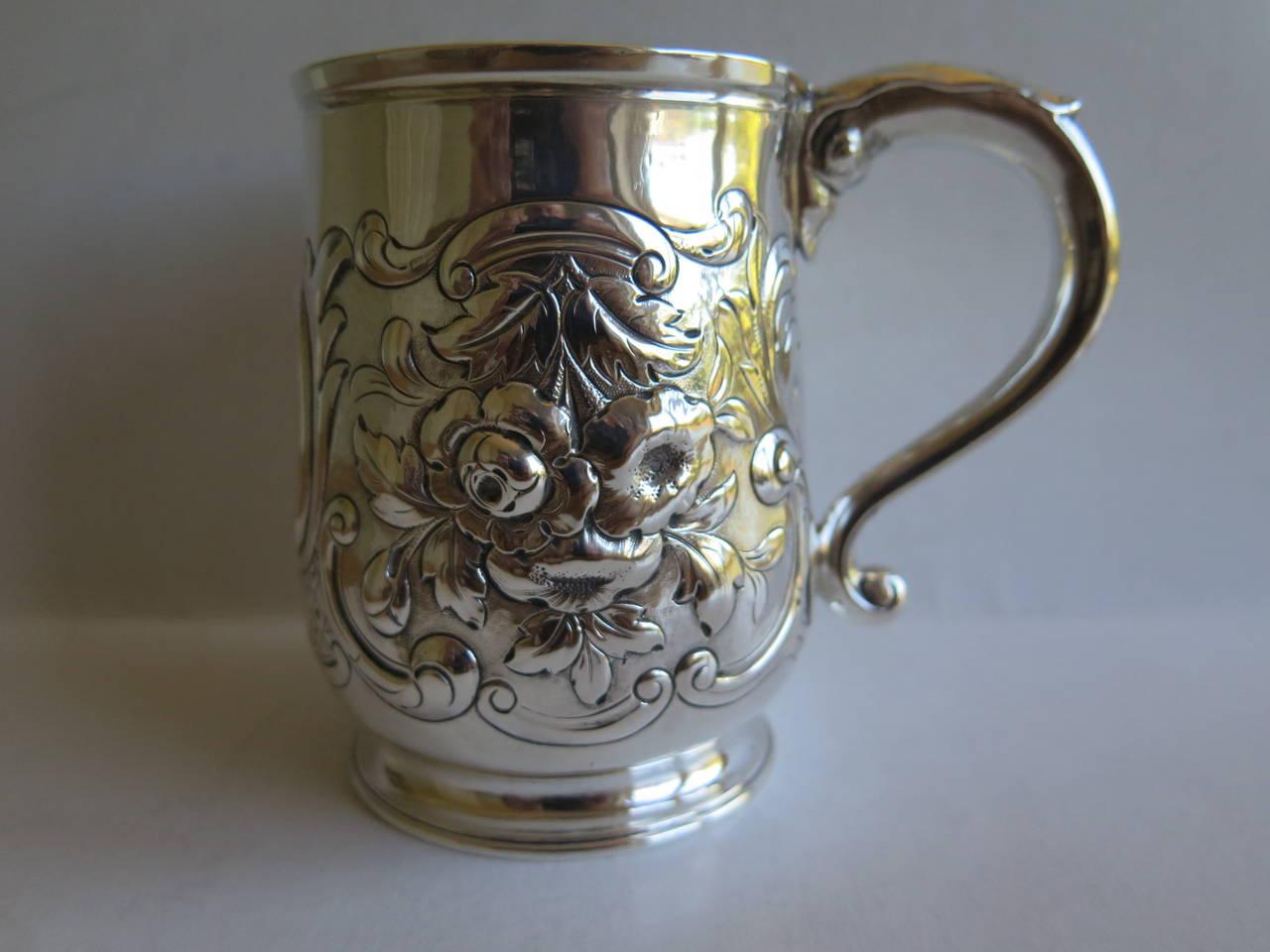 Rare Irish George II Silver Mug or Tankard by John Moore, Dublin 1740 3