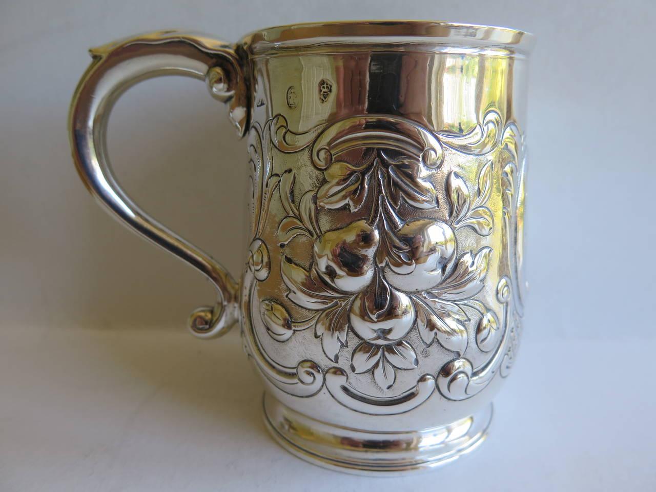 Rare Irish George II Silver Mug or Tankard by John Moore, Dublin 1740 2