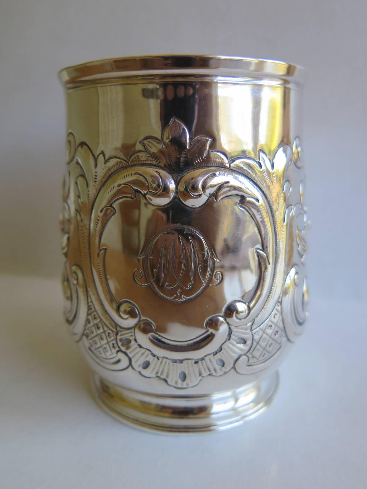 Rare Irish George II Silver Mug or Tankard by John Moore, Dublin 1740 4