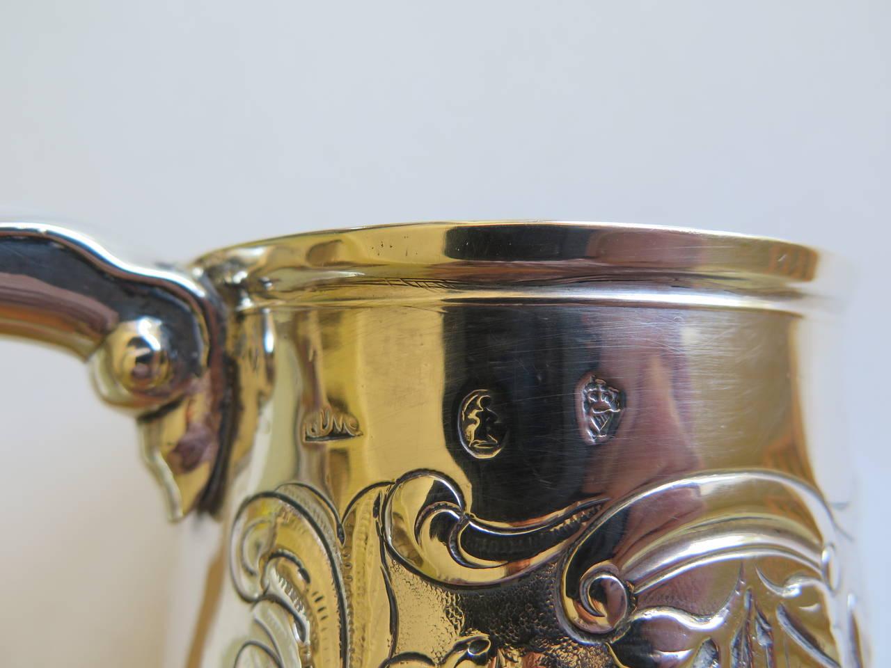 Rare Irish George II Silver Mug or Tankard by John Moore, Dublin 1740 5