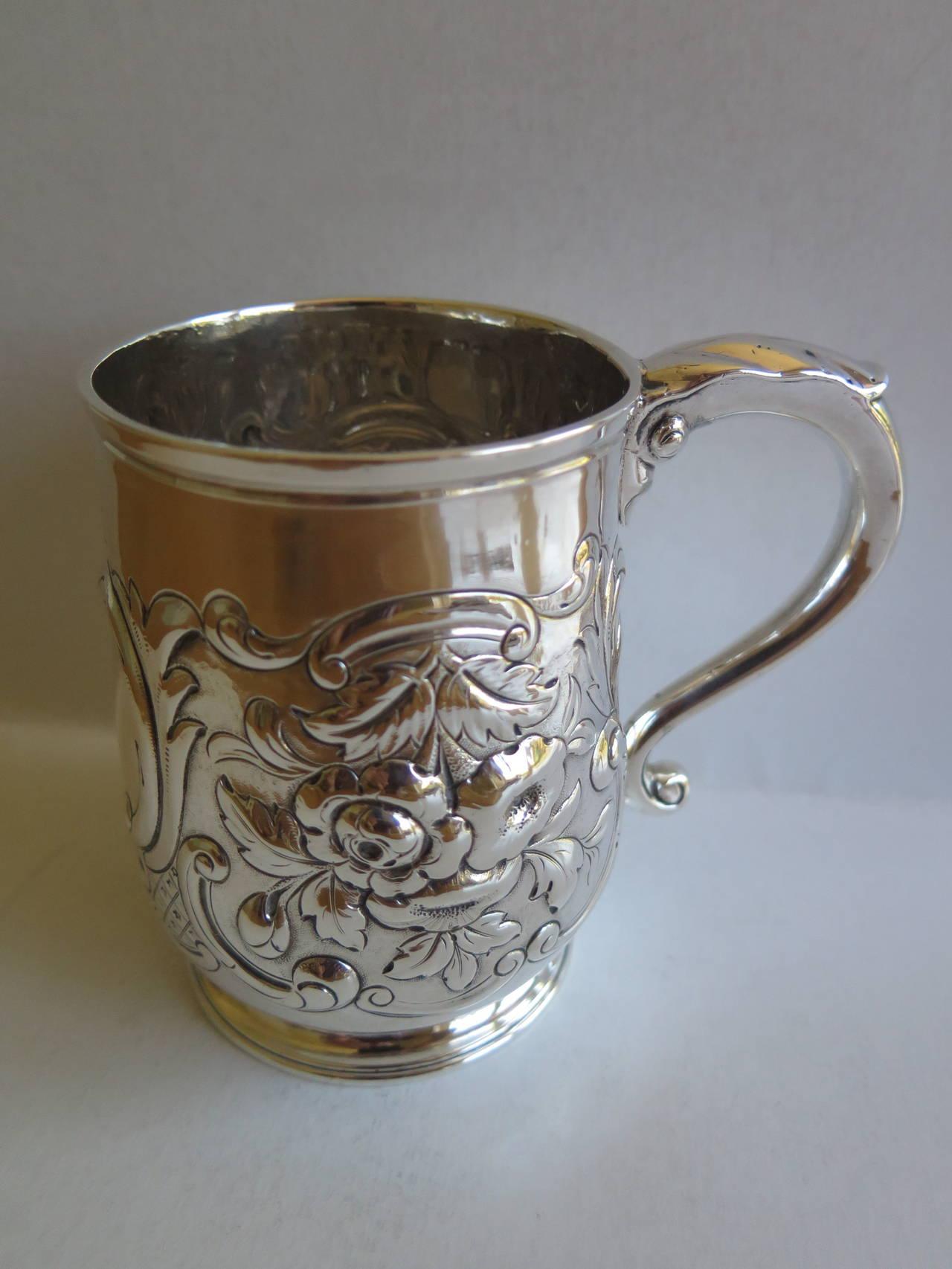 Rare Irish George II Silver Mug or Tankard by John Moore, Dublin 1740 6