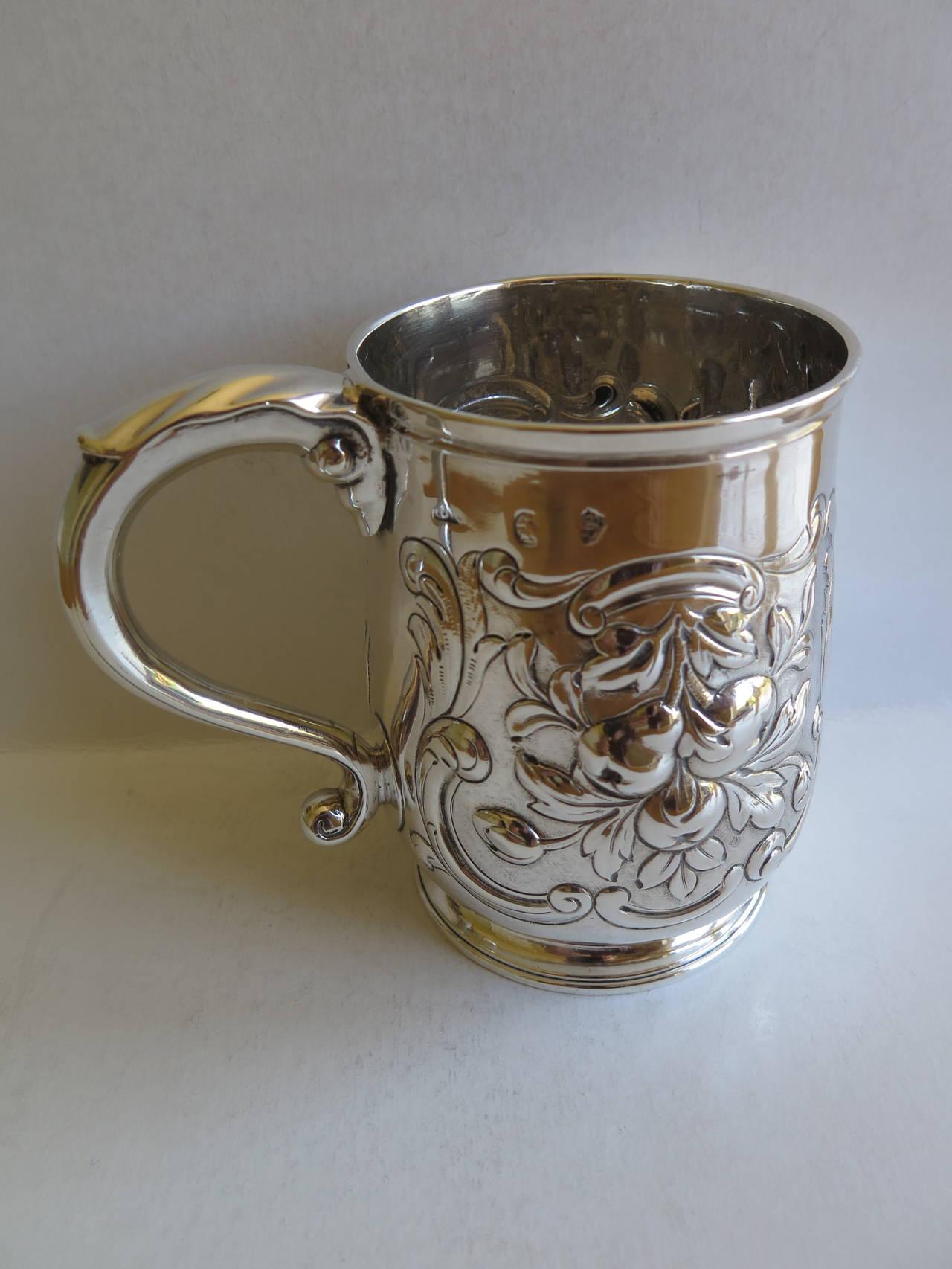 Rare Irish George II Silver Mug or Tankard by John Moore, Dublin 1740 7