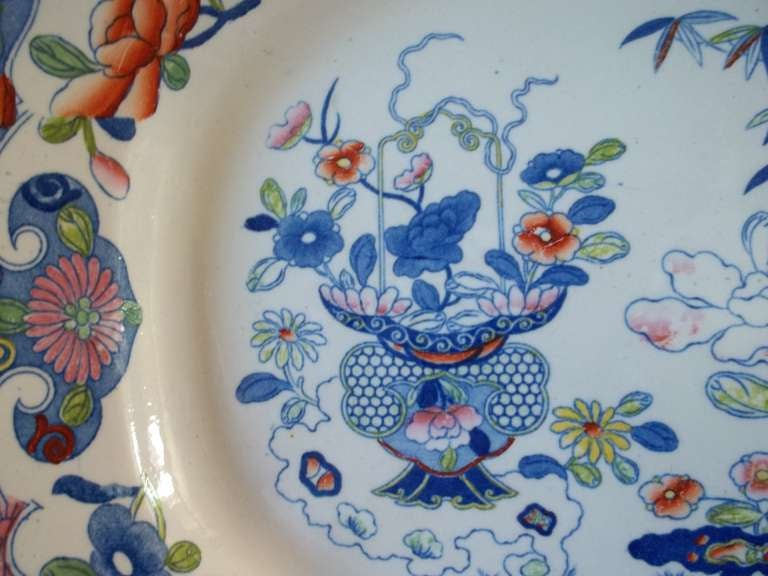 Chinoiserie Early 19th Century Large Mason's Ironstone Platter, Bamboo Pattern, circa 1815 For Sale
