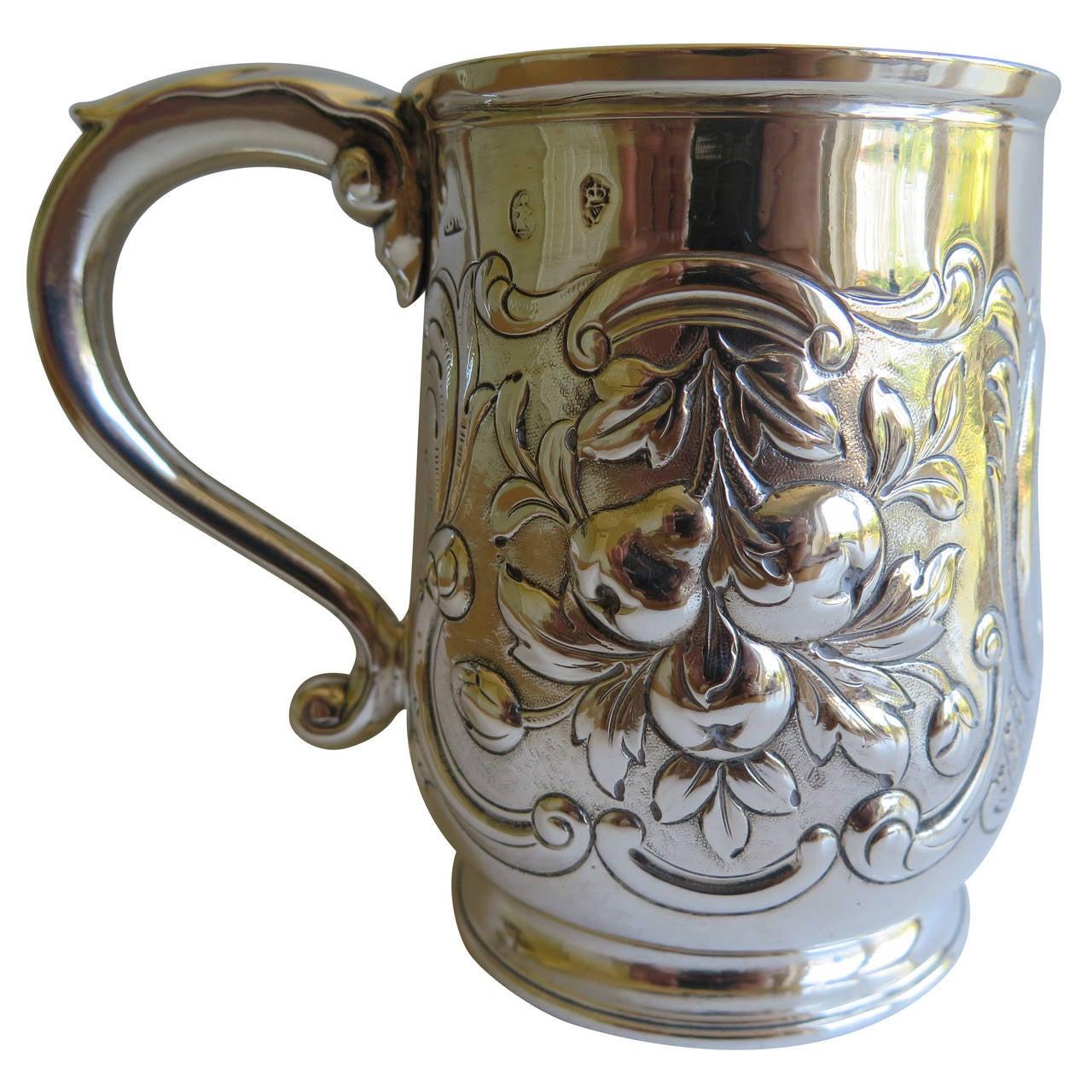 Rare Irish George II Silver Mug or Tankard by John Moore, Dublin 1740 1