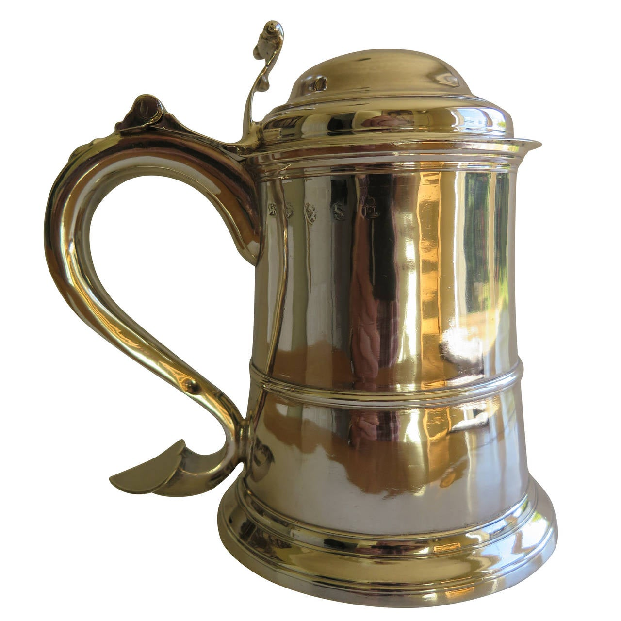 Fine George II Sterling Silver Tankard by John Langlands, Newcastle 1757