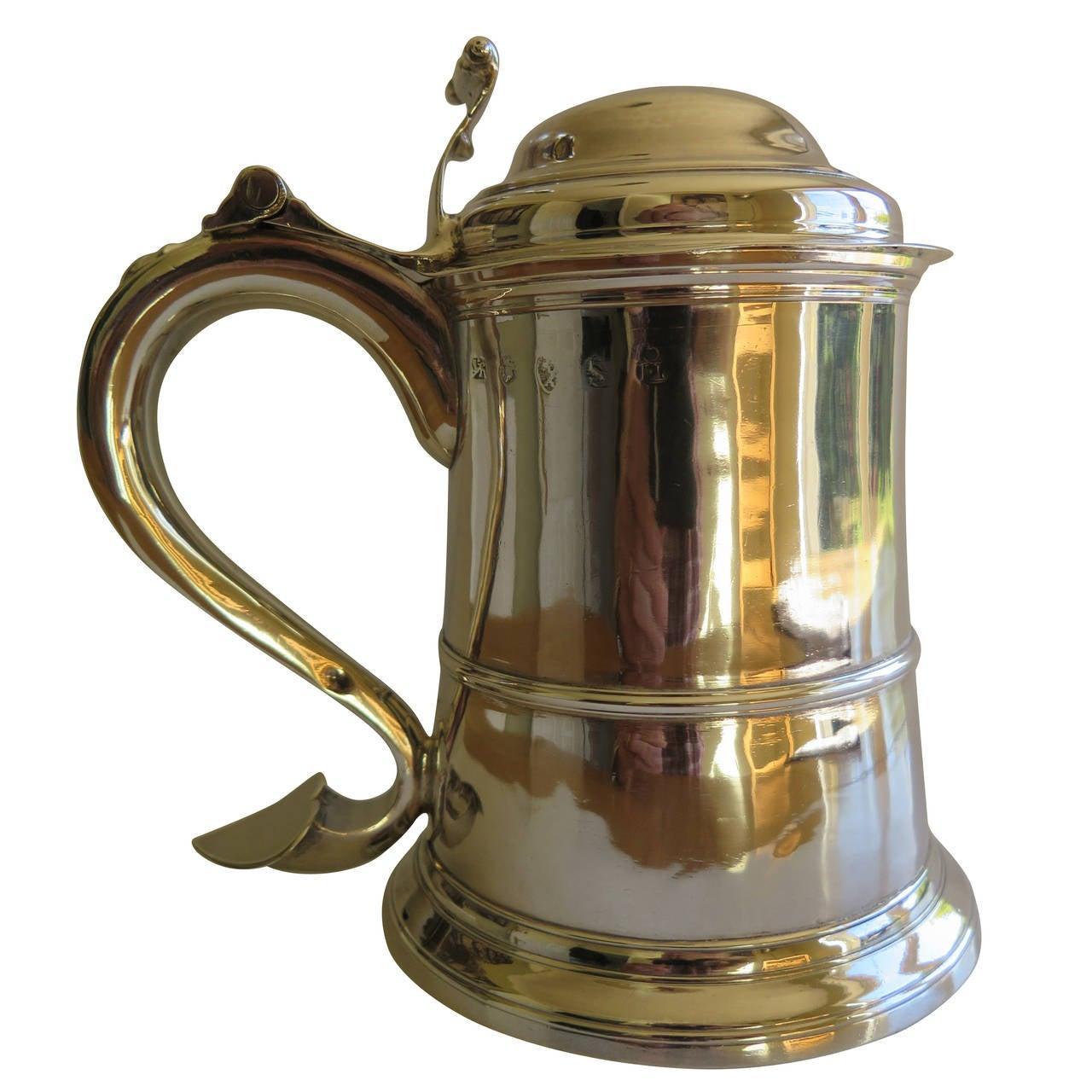 Fine George II Sterling Silver Tankard by John Langlands, English Newcastle 1757