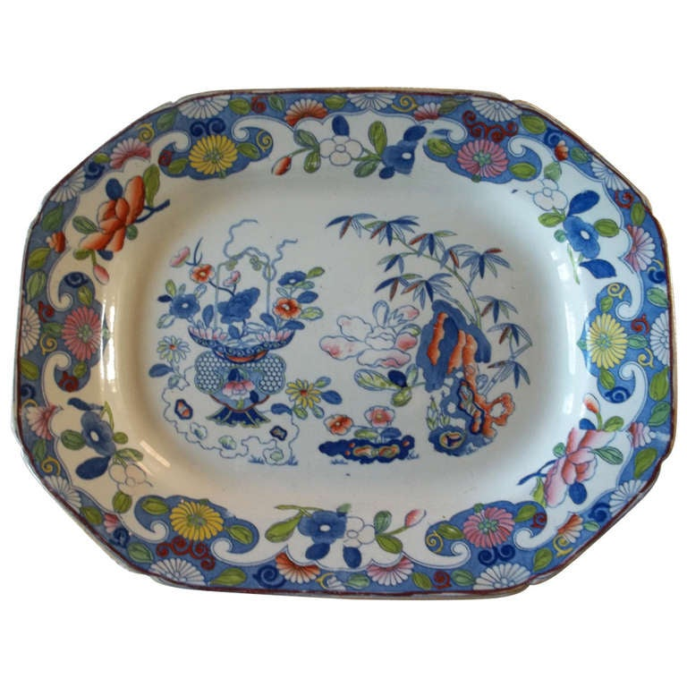 Early 19th Century Large Mason's Ironstone Platter, Bamboo Pattern, circa 1815 For Sale