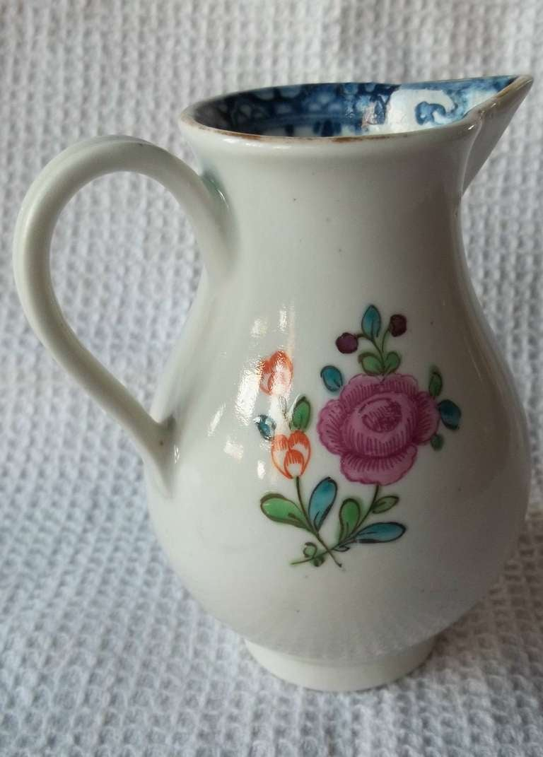 Hand-Painted Doctor Wall First Period Worcester Sparrow Beak Jug Porcelain, Circa 1770 For Sale