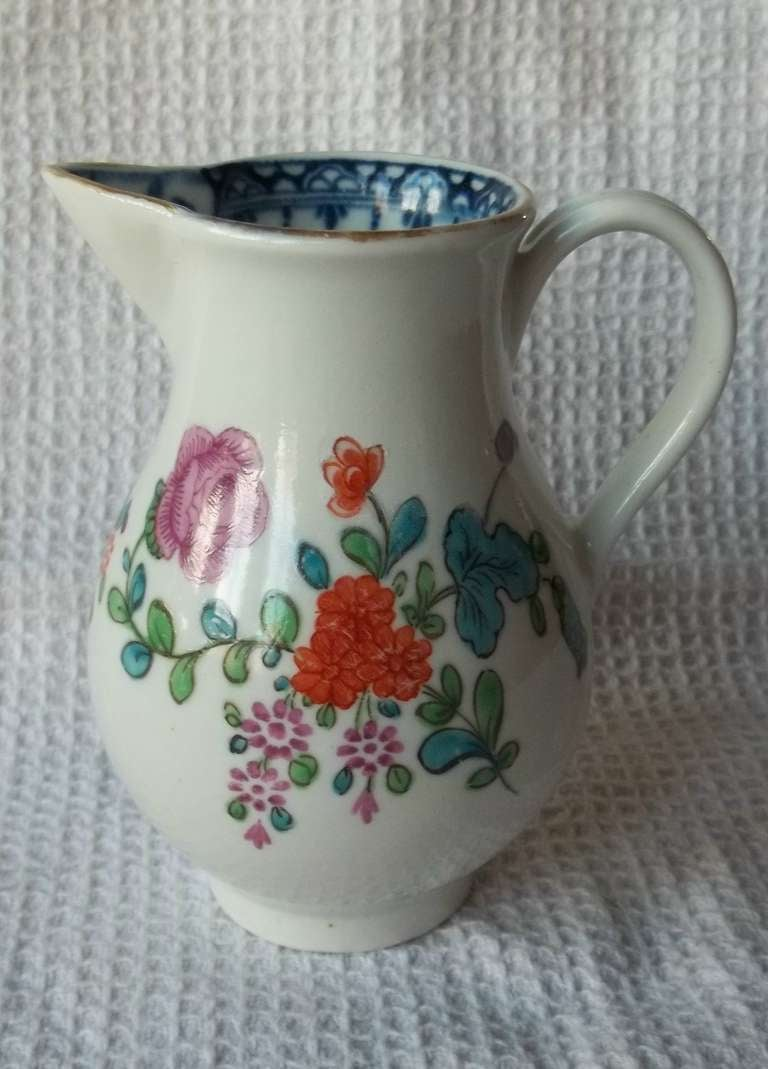 English First Period Worcester Sparrow Beak Jug Porcelain, circa 1770 For Sale