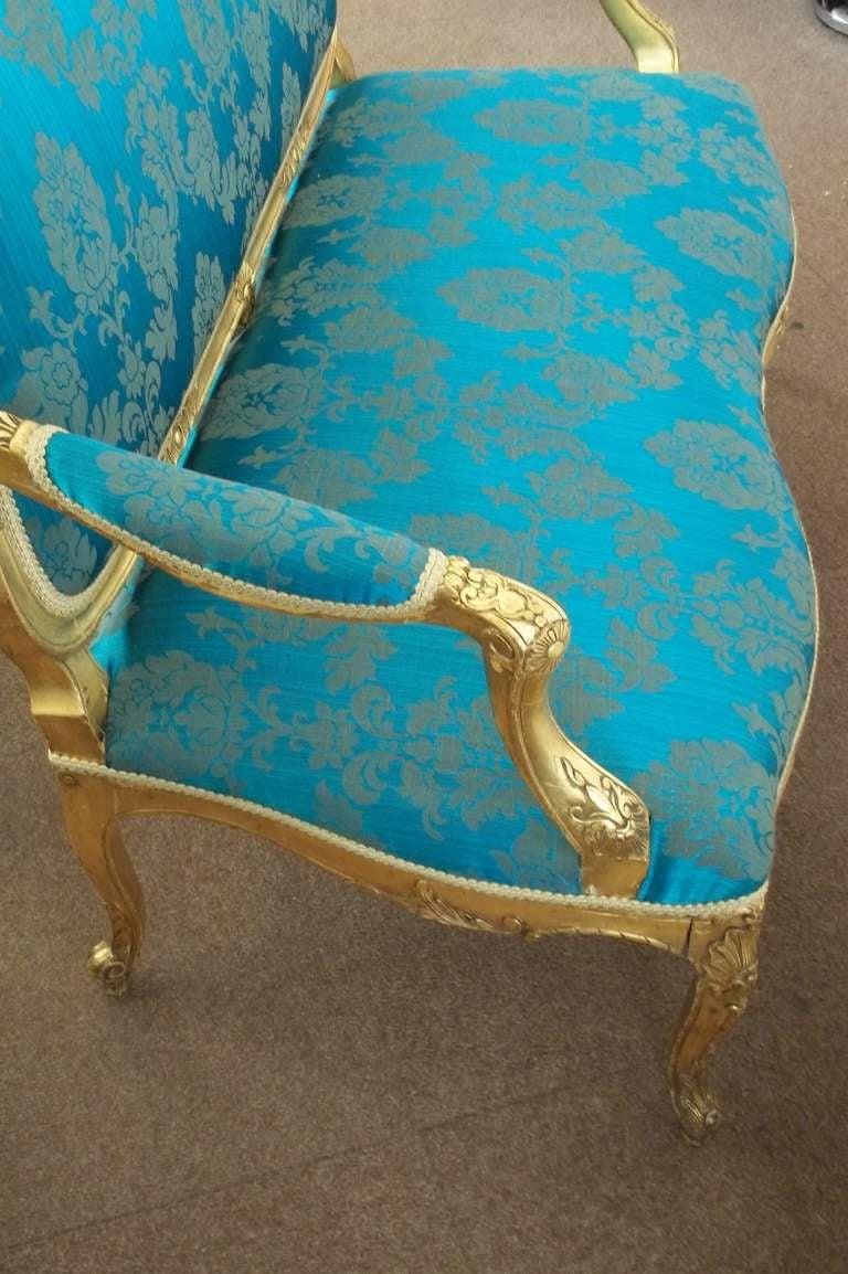 Mid-19th Century, Settee or Sofa, Louis XV Style, English, Giltwood, circa 1850 4