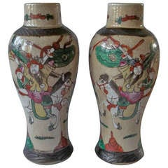 Late 19thC , PAIR, Chinese VASES, crackle glaze, hand painted warriors, Qing