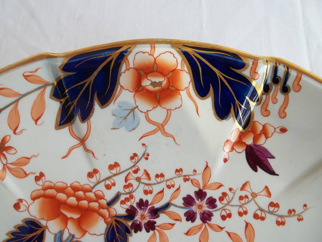 19th Century Early Davenport Large Dish or Platter Ironstone Hand Painted Pattern 37, Ca 1810 For Sale