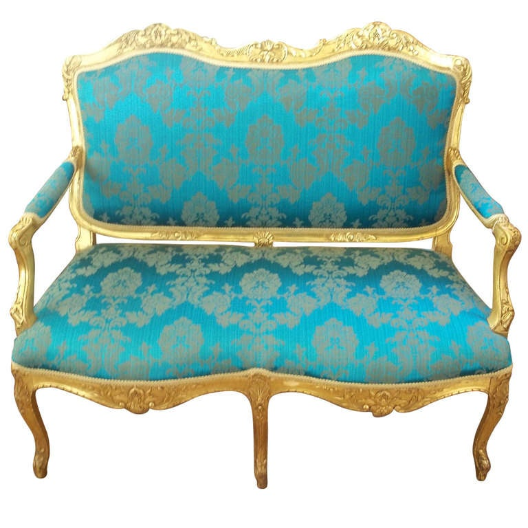 Mid-19th Century, Settee or Sofa, Louis XV Style, English, Giltwood, circa 1850
