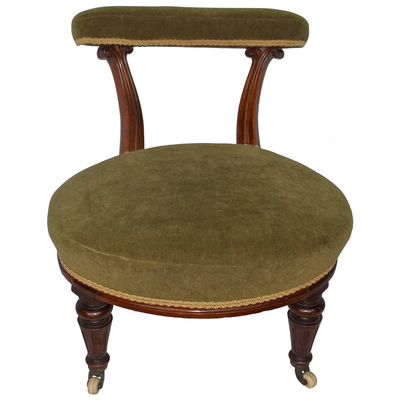 William IV Nursing Chair Hand-Carved Walnut, English, circa 1830