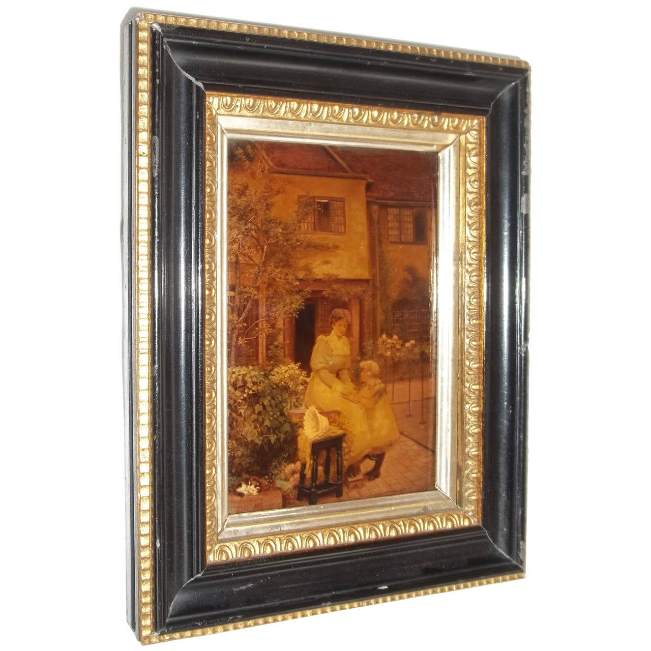 19thc Crystoleum Picture, Mother and Child, original frame, Circa 1890