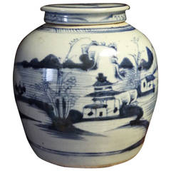 Blue and White Ginger Jar with Cover, Chatsworth House