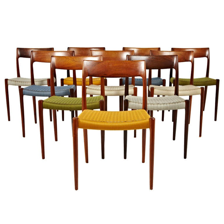 online store 7ebe0 104b8 Niels Otto Moller Rosewood Dining Chairs in Original Woven Coloured Cord  Seats
