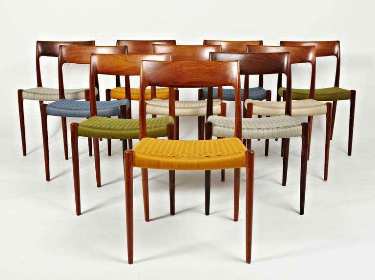 Niels Otto Moller Rosewood Dining Chairs In Original Woven Coloured Cord  Seats 2