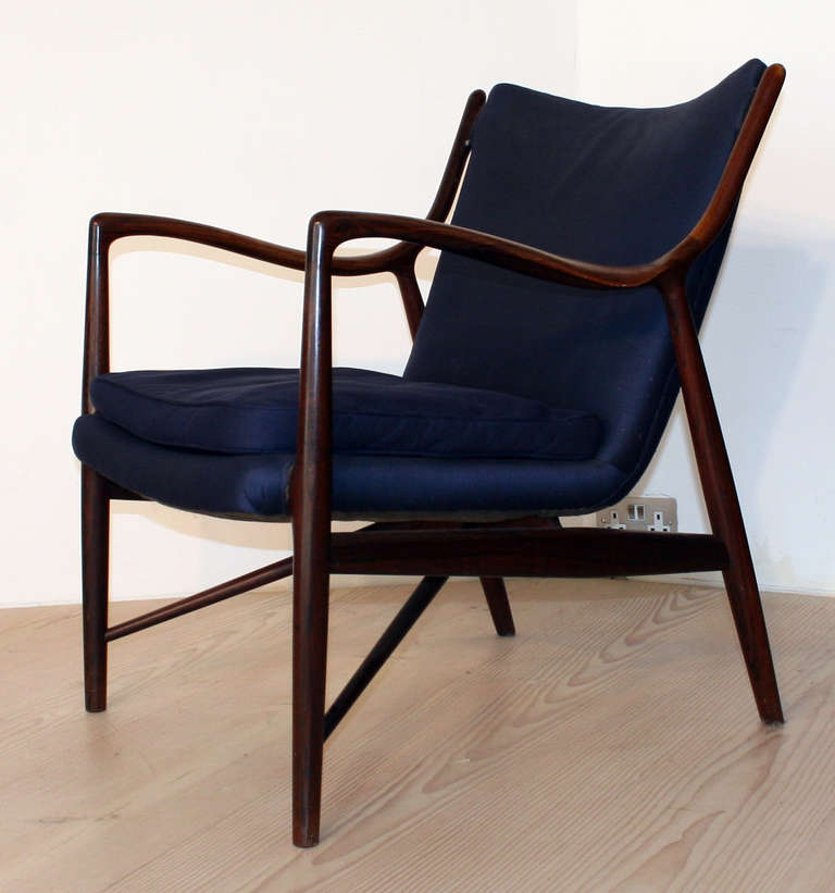 Finn Juhl Nv45 Chair Made And Labeled By Niels Vodder