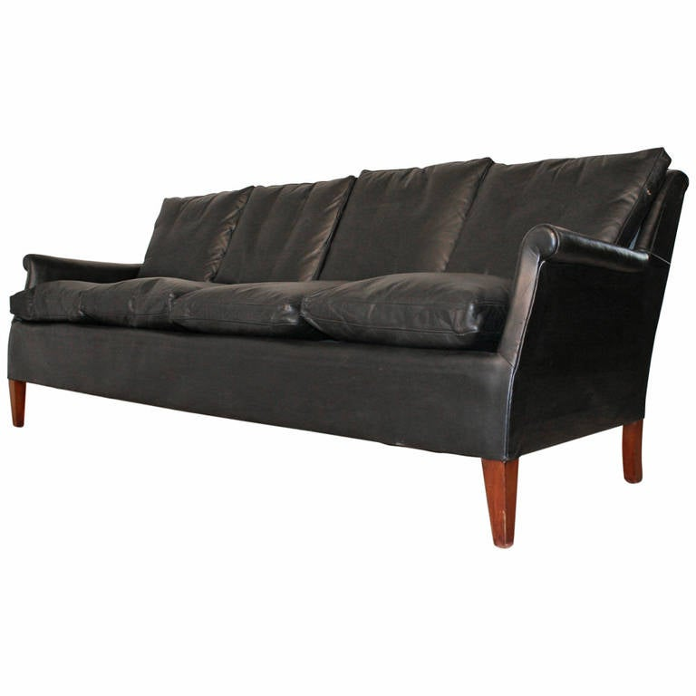 Frits Henningsen Four-Seat Black Leather Sofa, circa 1940