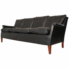 Frits Henningsen Four-Seat Black Leather Sofa, circa 1940