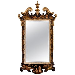 Baroque Style Gilded and Black Japanned Mirror, 20th Century