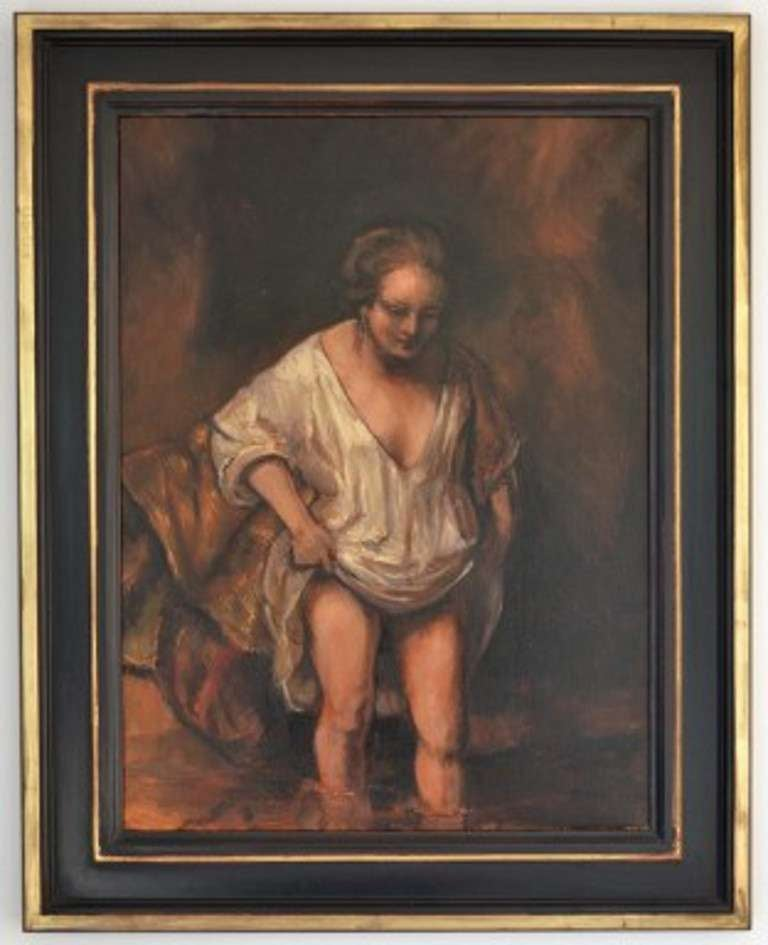 Woman bathing, 2012, original by Rembrandt (1606-1669)  A masterful oil on canvas copy of the original Rembrandt depiction of a woman bathing.