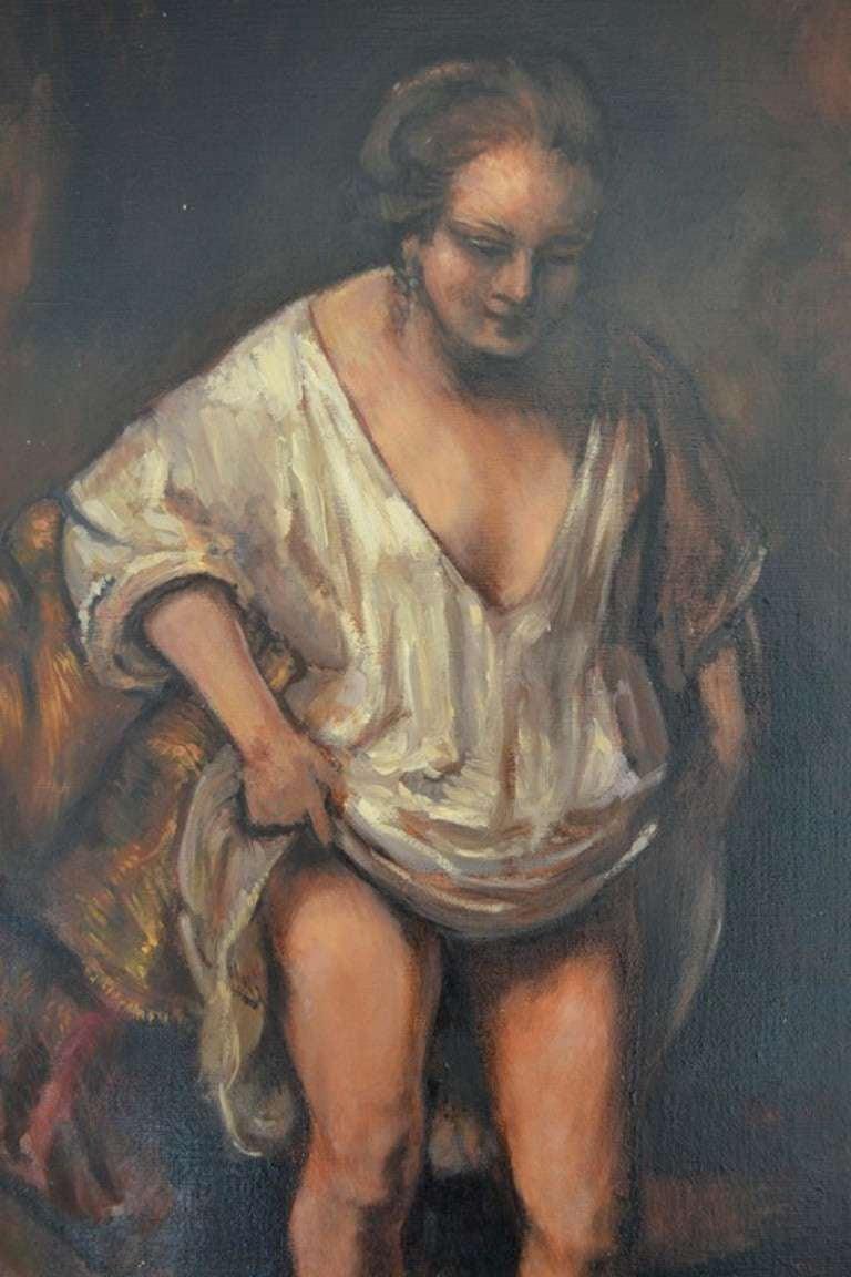 Northern Renaissance Woman Bathing 'Rembrandt' For Sale