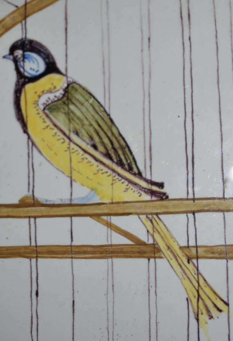 18th Century Polychrome Delft Birdcage Plaque Picture At