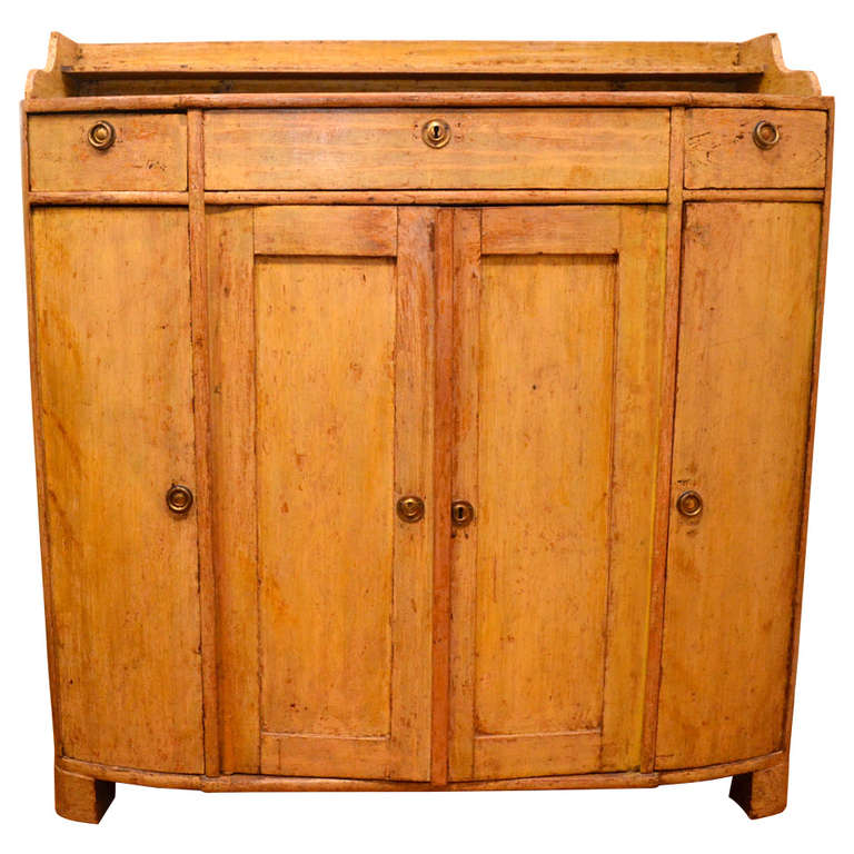 Early 19th Century Swedish Painted Yellow Buffet Cabinet